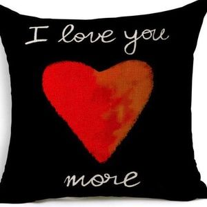 Other - Pillow Cover- New- I Love You More Heart